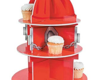 Fire Hydrant Party/ firefighter party/ firefighter cupcake stand/ firefighter  Birthday/firefighters Birthday/ firefighter cupcake holder/