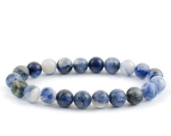 Sodalite Bracelet, Sodalite Bracelets 8 mm, Sodalite Stretch Bracelets, Sodalite Bead Bracelet, Sodalite healing Crystal, Sodalite mineral