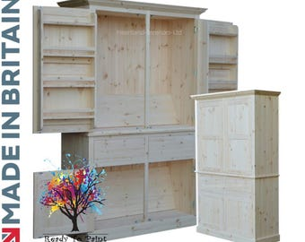 Contemporary 2 M Tall Pantry-Kitchen Storage Cupboard with Racks in Bare Wood. Handcrafted in Britain (CUP2M-SR)