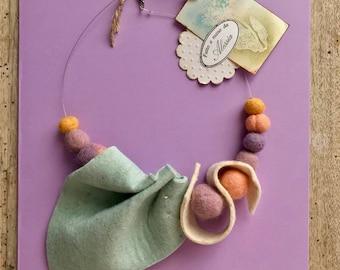 Handmade felt necklace, one piece.