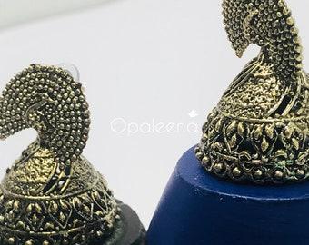 Peacock Earrings, Feather earring, Dangle earring, vintage earrings, antique earrings, gold dangle, antique jewelry, drop earrings, boho