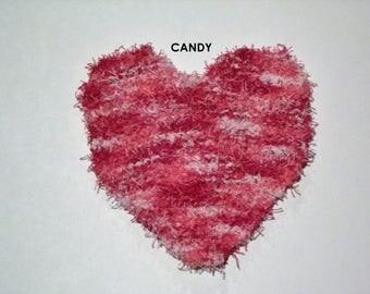 Handmade Knitted Heart Scrubby Dish Cloth