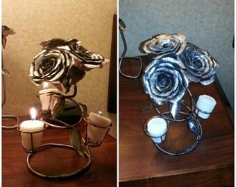 Three Rose Steel Candle Holder Handmade