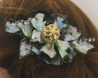 Abalone Paua shell barrette hair clip