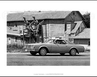 Black and White Photograph - Oldsmobile and the Factory