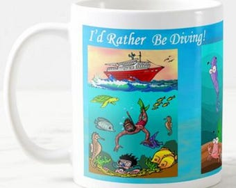 I'd Rather Be Diving,  for Scuba Diving Snorkelling Funny Mug Birthday Gift Christmas Present and Boat Ship