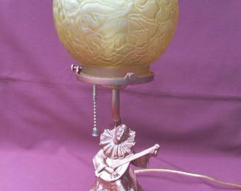 1920s Jester Figural Lamp with Brain Glass Shade