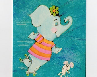Vintage Elephant and Mouse Get Well Card | Wellness Feel Better Animals Animal Elephants Blue Hallmark Greeting Card | Paper Ephemera