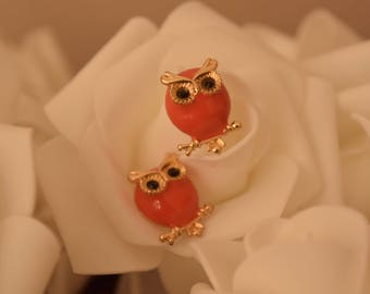 Owl Design Stud Earrings - Pink and Gold Studs