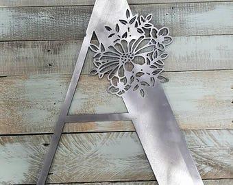 Steel Metal Letter A flowers floral Alphabet Sign