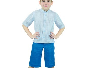 Short Sleeve Striped Shirt + Short Pants 100 % Linen Size 4 - 9 Years  Blue