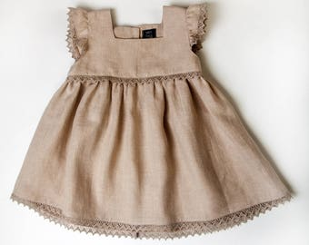 Linen Toddler Girls Lace Sleeveless Dress Size 9 - 12 Months
