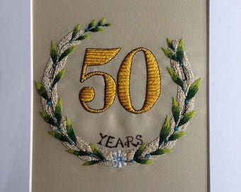 Celebrating 50 Years of marriage embroidery picture