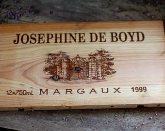 French wine crate front CHATEAU MARGAUX. Wine Bordeaux. Vins de Bordeaux. French wine panel. French wine dedor. Wine panel. Wine decor