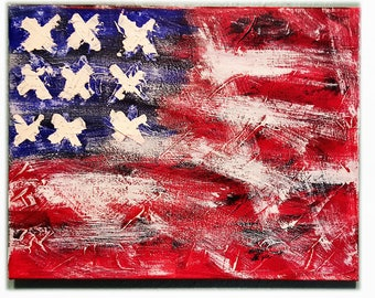 """American Flag 11""""x14"""" Painting"""