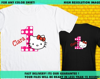 Hello Kitty / Iron On Transfer / Girl Birthday Shirt Transfer DIY / High Resolution / For Any Color T Shirt / 12 Hours Turnaround Time