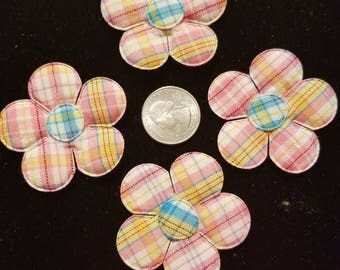 Cute Padded Applique Plaid Large Flower 15 Pieces for sewing/doll making/hairbow/scrapbooking/crafts, etc.