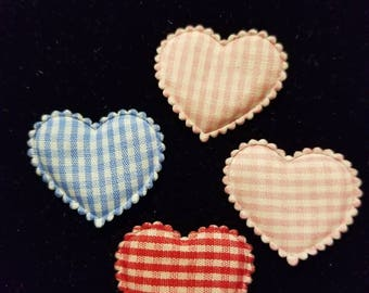 Cute Padded Applique Gingham Heart 20 Pieces for sewing/doll making/hairbow/scrapbooking/crafts, etc.