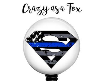 Thin Blue Line Superman Retractable Badge Holder, Police Badge Reel, Lanyard, Stethoscope ID Tag, Nurse, RN, Doctor, Teacher Gift
