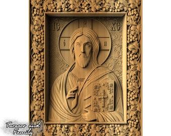 Religious icon Jesus wood wall art decor Orthodox gift hanging Russian Joseph Catholic Christian decorative carving wood wall art icon gift