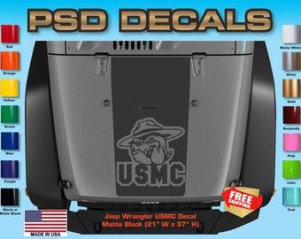 Jeep Decals Jeep Wrangler Blackout U.S.M.C. Vinyl Hood Decal H-175