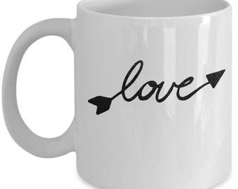 Love Arrow - High Quality Cute White & Black Ceramic 11 oz or 15 oz Mug -Love Valentine's Day Mother's Day Birthday Mom Wife Girlfriend Gift