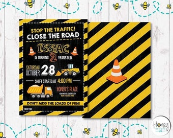 Birthday boy, invite, digital, road construction, celebrate, party, safe zone.