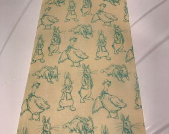 Reusable Cotton Beeswax Food Wrap Peter Rabbit Beatrix Potter Jemima Puddleduck White Blue Drawing Bunny 20cm x 20cm Eco Friendly Zero Waste