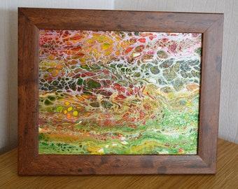 Tutti Fruitti - An Original Acrylic Swipe Abstract Painting - Framed 22x 28cms Green, Orange, Yellow, Red & White