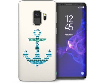 Samsung Galaxy S9 Case, Best Stylish Nautical Aztec Anchor Print Gel Cover