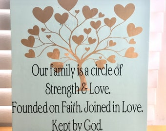 Our family is a circle of Strength & Love. Handmade wood sign.