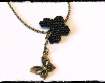 Bracelet weaving black Butterfly mounted on a fine bronze chain, butterfly charm