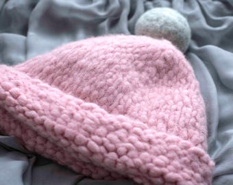 Romantic rose woolen hat with felted pompon