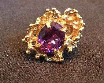 ESTATE 1970s Amethyst Gold Free Form Ring