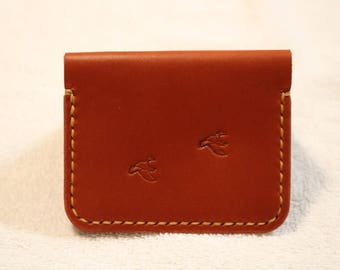 2 pocket leather wallet #39, Hand crafted wallet, minimalist wallet, Mens wallet
