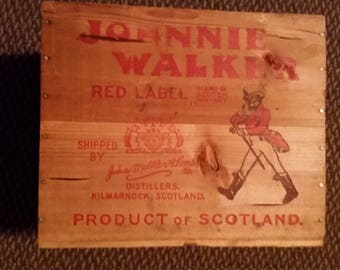 Vintage Wooden JOHNNIE WALKER Crate Rare with 4 Metal Stamps