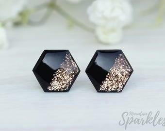 Gold Black Hexagon Earrings, Black Gold Studs, Woman Black Gift, Black Modern Earring, Minimal Jewelry, Hexagon Jewelry, Titanium earrings