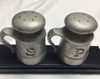 Vintage Country Ware Pewter Salt & Pepper Shakers