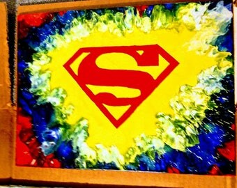 Superman customized melted crayon art