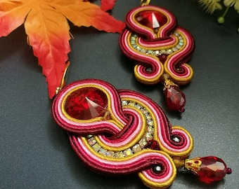 Elegant Red Ruby Crystal Soutache Earrings Statement Wedding Earrings Dangle Ethnic Boho Chic Pink and Yellow Earrings