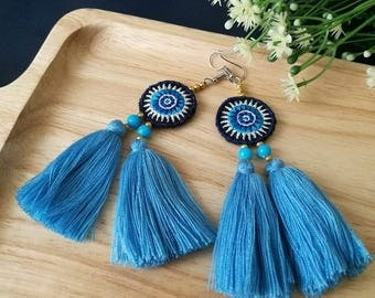 Handcraft Embroidered Hmong Tribal Ethnic Earrings Statement Dangle Drop Boho Chic Beaded Tassel Blue Earrings
