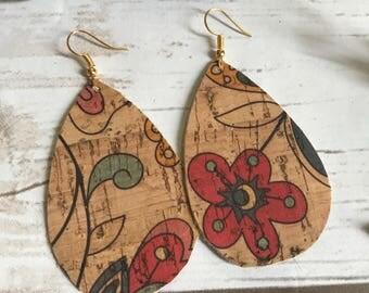 Floral Cork Leather Teardrop Leather Earrings