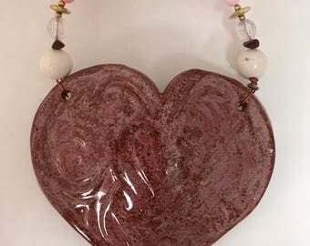 Marbled Red Ceramic Heart Wall Pocket