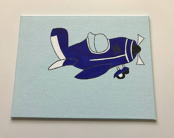 Blue Airplane Painting