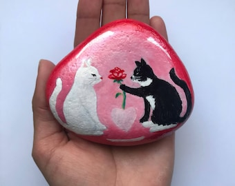 Hand painted rock,valentines day gift, valentine cats