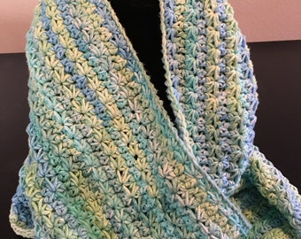 Hand Crocheted Infinity Scarf in Gradient Tones of Blue