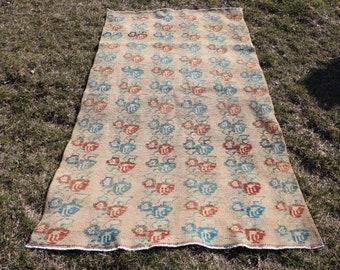 Free Shipping handmade turkish rug 3.8 x 7.1 ft. flowery design floor rug, decorative tribal rug, area rug, rustic rug, boho decor rug MB449