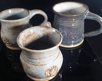 Blue stoneware coffee mugs
