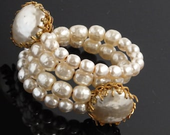 Miriam Haskell faux pearl coil bracelet