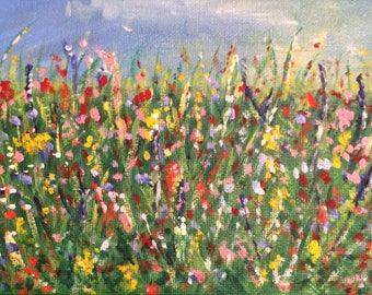 Flower Meadow A6 Blank Greeting Card - taken from acrylic painting